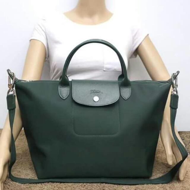 fc4d443323 Longchamp Neo Olive Green MSH, Women's Fashion on Carousell