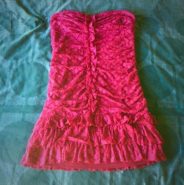 Maroon Strapless Dress