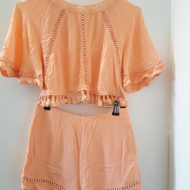 ON HOLD - Paradisco Crop And Shorts Set Size 8