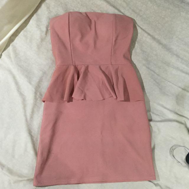 Peplum Nude Pink Dress