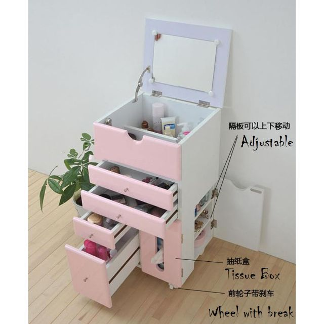 Pink U0026 White Mobile Movable Makeup Organizer Dresser Cosmetic Jewelry  Storage Cabinet With Mirror Drawers Tissue Box Wardrobe Dressing Table, ...