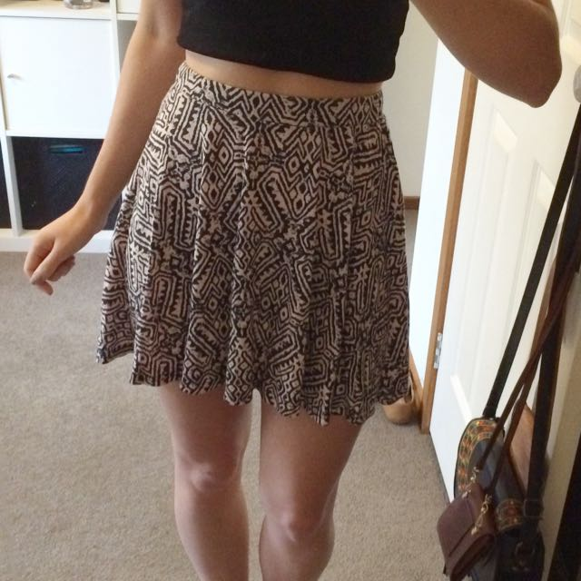 Pink And Black Patterned Skirt