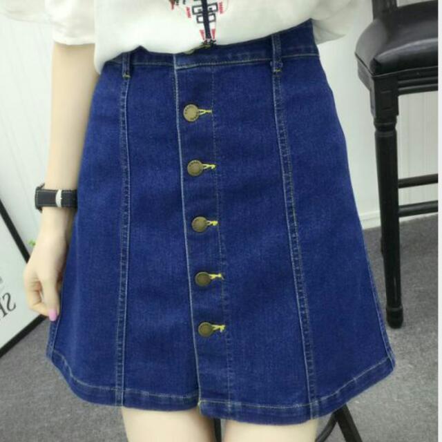 abd507011c6 PO  Plus Size Button Down Denim Skirt Korean Style