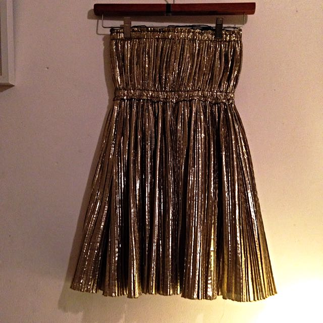Sass And Bide Gold Baby doll Party Mini Dress