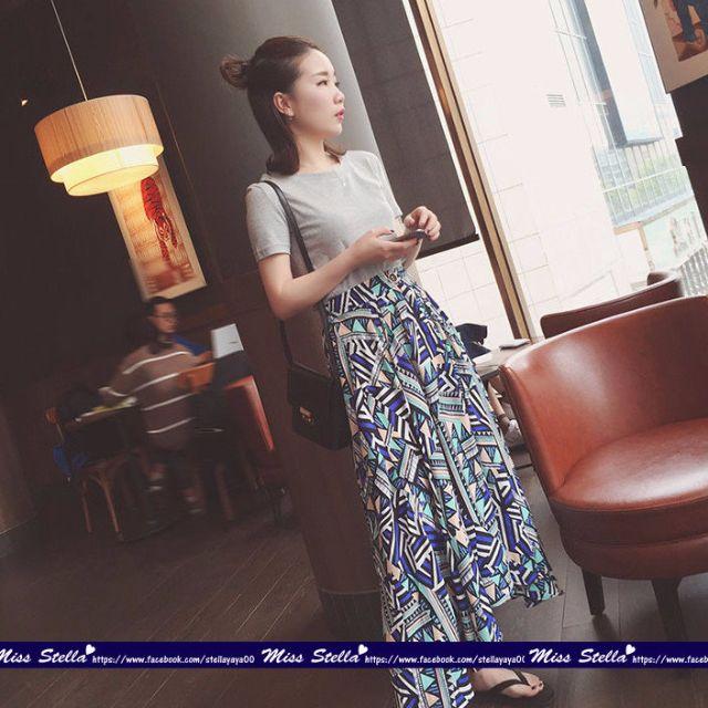 休閒!飄逸!純色背後交叉T恤+複古幾何撞色長裙 2件組