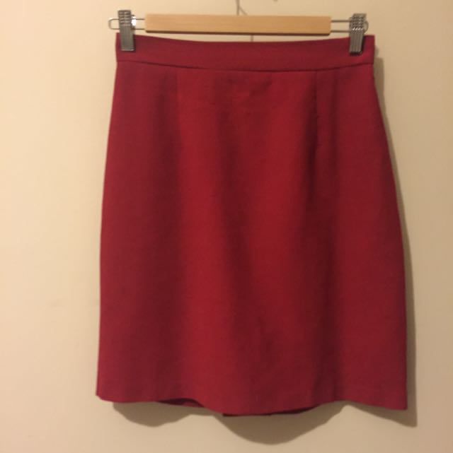 Vintage Red Pencil Skirt High Waisted Size 8