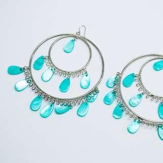 Large Statement Hoop Earrings - Silver & Aqua Shell