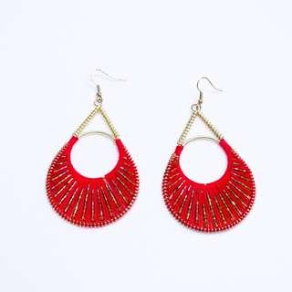 Red Thread & Gold Beaded Earrings