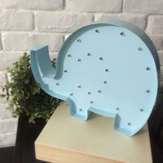 Marquee Light Night Light - Elly the Elephant in Baby Blue