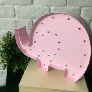 Marquee Light Night Light - Elly the Elephant in Baby Pink