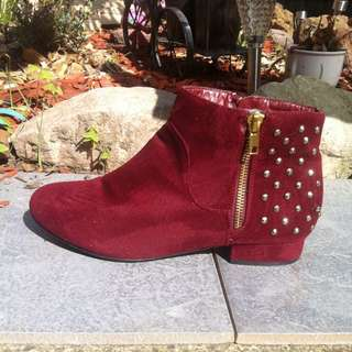 Red Emerson Studded Boots