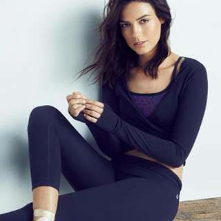 Black Kate Hudson Fabletics Athletic Rose Cropped Wrap Top For Sports, Yoga Or Dance