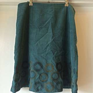 Boden Turquoise Corduroy Embroidered Skirt