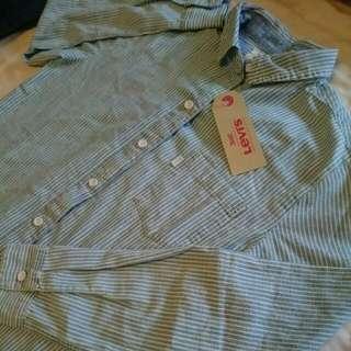 Levi's 全新灰藍白條紋襯衫_S