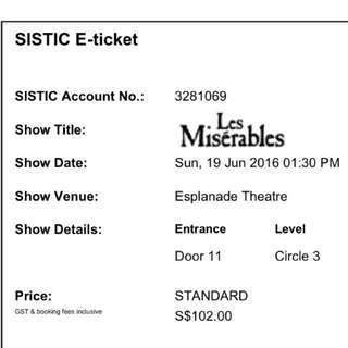Les Misérables Tickets (2 Seats) June 19th 1.30pm