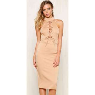 "All Tied Up ""TAN"" Dress"