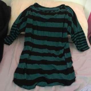Green &Black Stripped Shirt