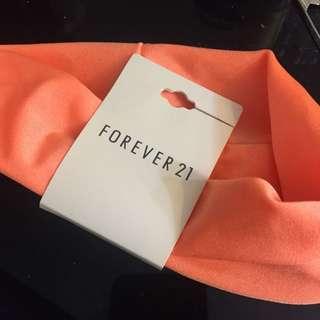 香港forever21 購入螢光橘色髮帶