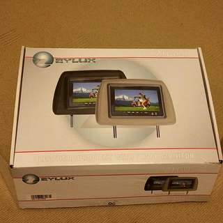 **PENDING** X2 Brand New In Boxes Never Used. Zylux ZHM-7 Black Leather Headrests With 7 Inch Monitor.