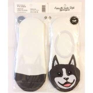 🚚 以樂玩具 隱形襪 隱形襪子 毛小孩 柴犬 柴犬襪子 非短襪 白色