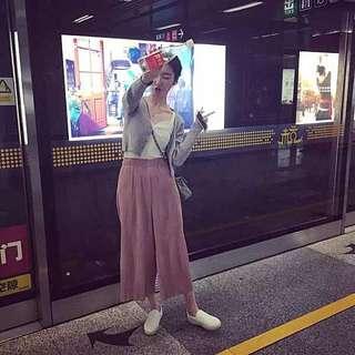 (含運)氣質壓摺寬褲粉色