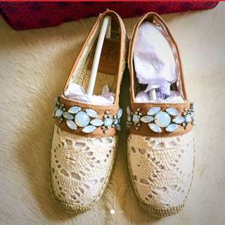 Brand new Tory Burch Macrame Jeweled Espadrilles (Sold)
