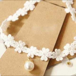 蕾絲珍珠 頸鍊 項鍊
