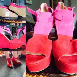 Steve Madden Block Red/Pink Wedges