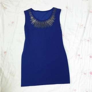 全新 寶藍色貼身洋裝