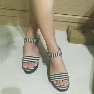 厚底 黑白條紋涼鞋