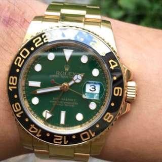 Rolex GMT Master II Full Gold JADE DIAL 116718
