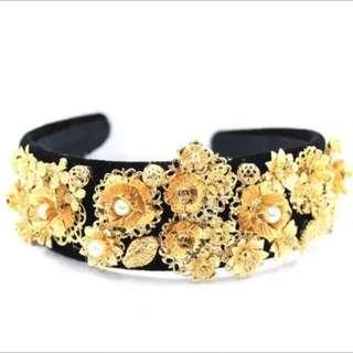 6f781ec6 GTS! Dolce & Gabbana D&G Gold And Black Filigree Necklace.