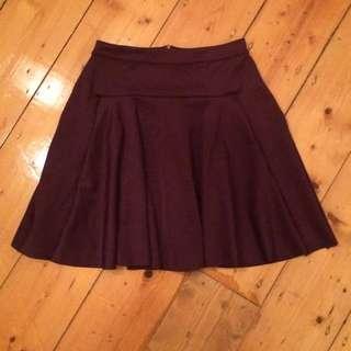 PIECES @ ASOS Dark Purple Mini Skirt Sz S/M