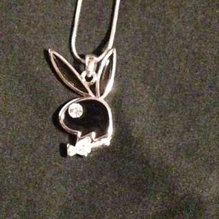 'Playboy' bling bunny charm/necklace