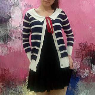 Free Postage Ribbon Stripe Cardigan