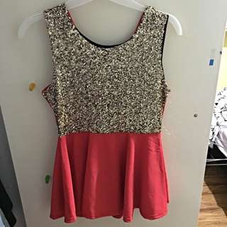 Coral And Gold Sparkly Top