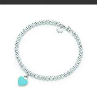 (全新) Tiffany & Co./蒂芬妮 女式純銀心形小珠Bead琺瑯手鏈 7英寸