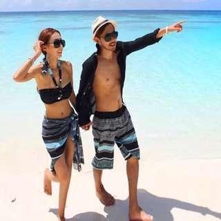 Bikini 情侶度假風三+1件式 泳衣披紗海灘褲