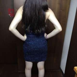 藍色歐美平口禮服