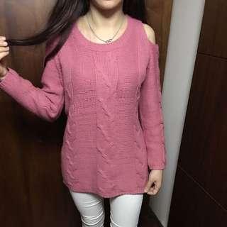 粉色 針織露肩上衣