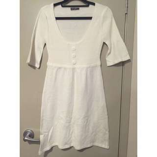 Size M Off White Ribbed Sweater Dress/tunic