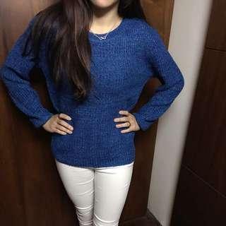 藍色針織上衣
