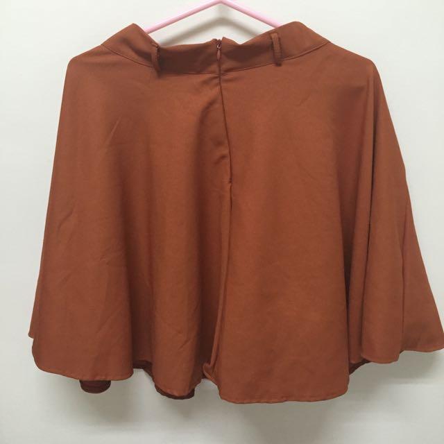 氣質中長裙、附腰帶(橘)