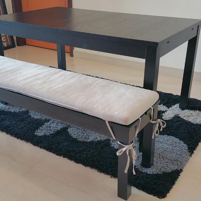 Bjursta Extendable Dining Table Bench W Crate Barrel Cushion
