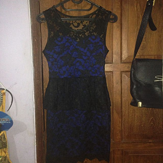 Black Blue Brokat Dress