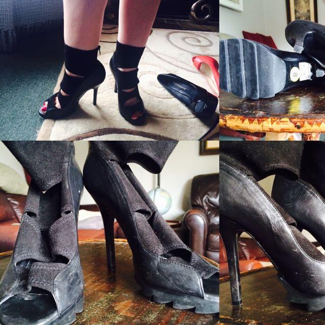 Black, Tony Bianco, stilettos with ankle strap, size 8