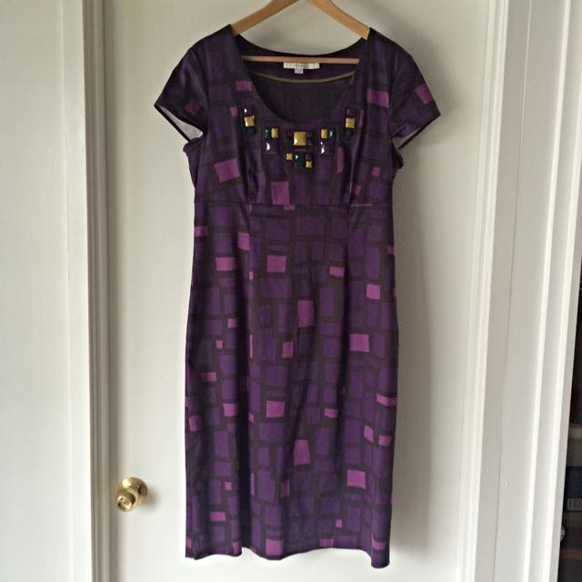 Boden Dress, Fuchsia And Purple, With Cap Sleeves