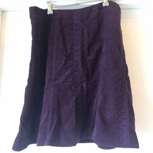 Boden Purple Corduroy Embroidered Skirt