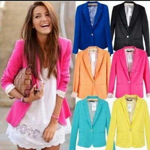 78e37eff3e Candy Color Womens Blazer Single Button Slim Blazer Feminino 2016 Casual  Suit Coat Plus Size XXL XS Blazer