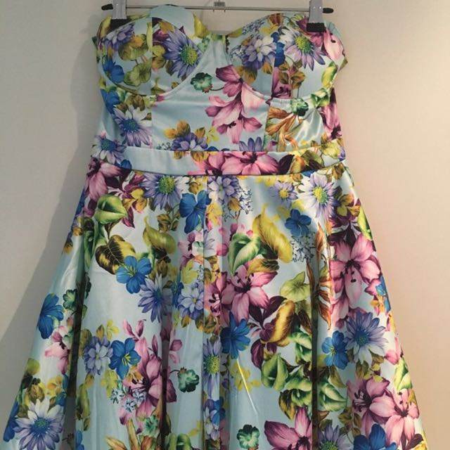 Floral Strapless Dress (Princess Polly) SIZE 12
